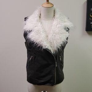 Black Rivet Faux Black Leather & White Fur Vest